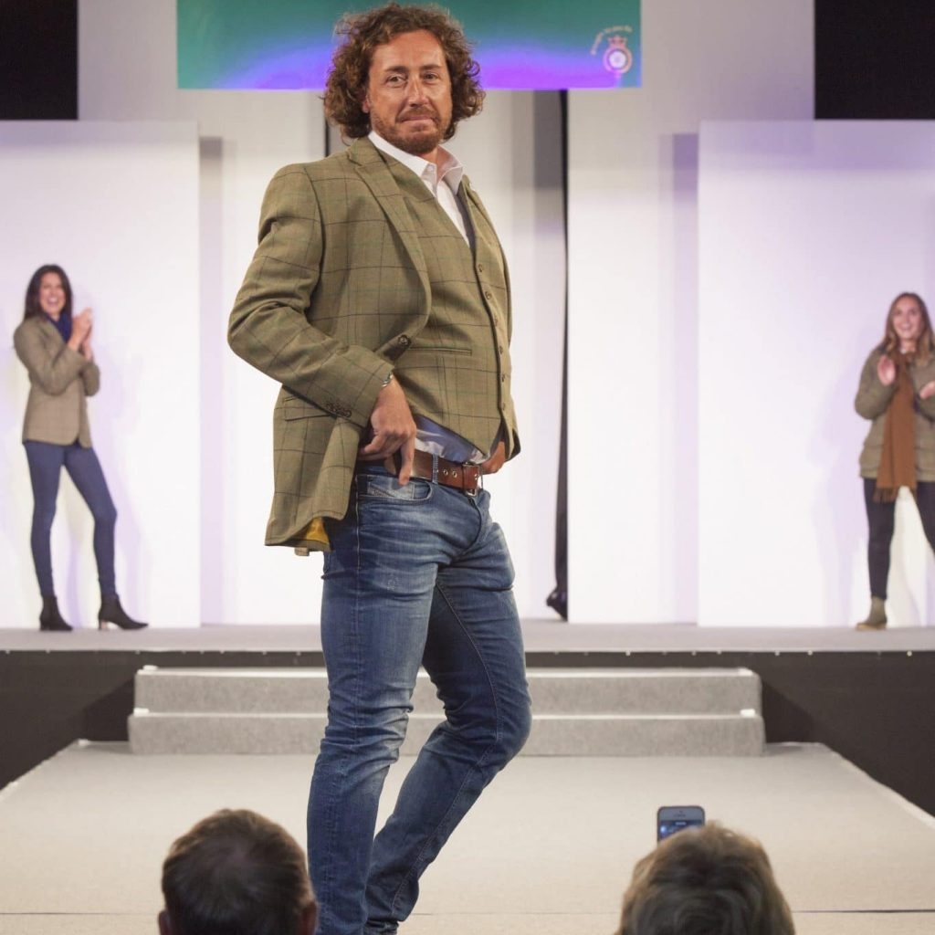 Ryan Sidebottom modelling Great Yorkshire Tweed in Fashion Show