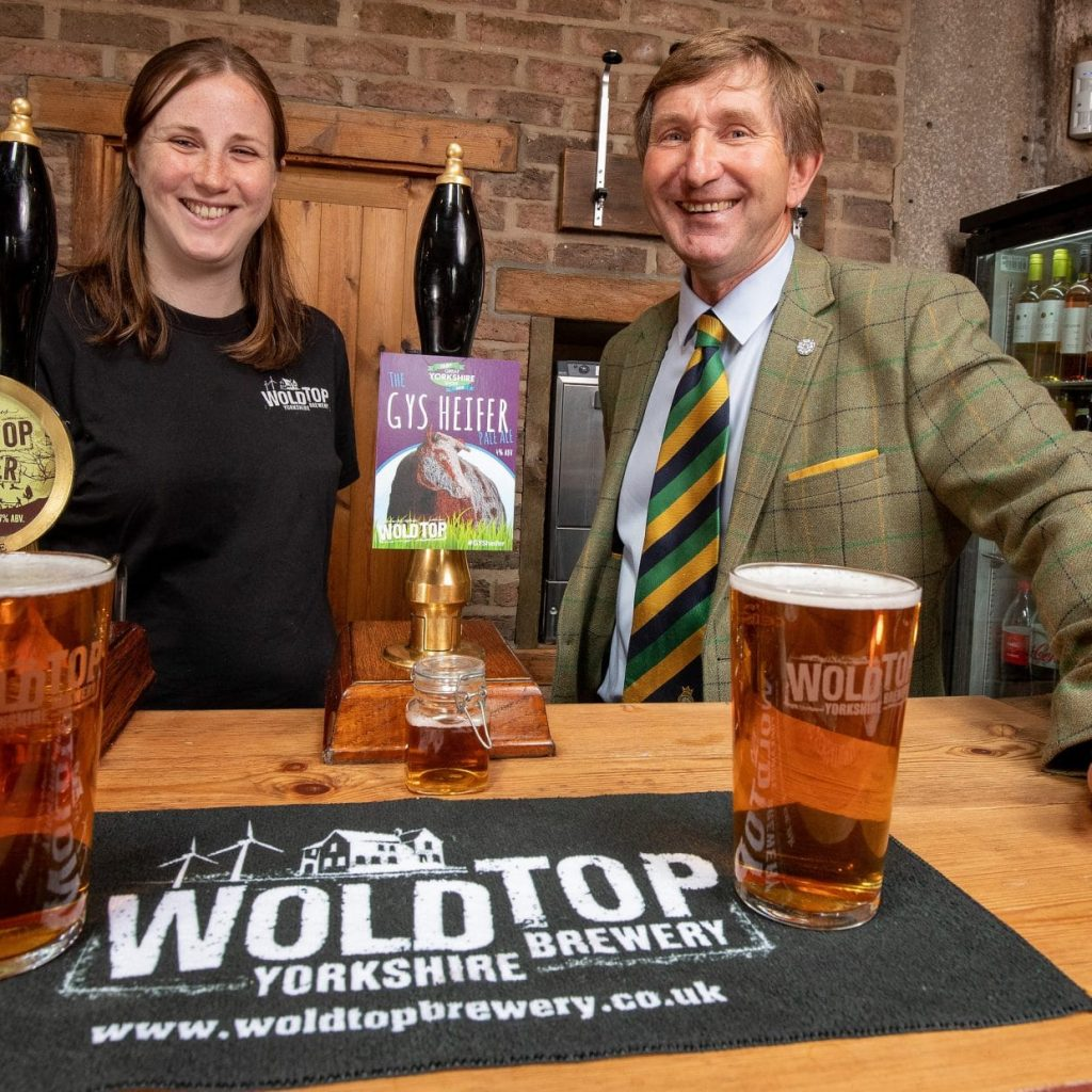 Charles Mills with Kate Balchin (From Wold Top) celebrating the GYSHeifer tour for Great Yorkshire Show