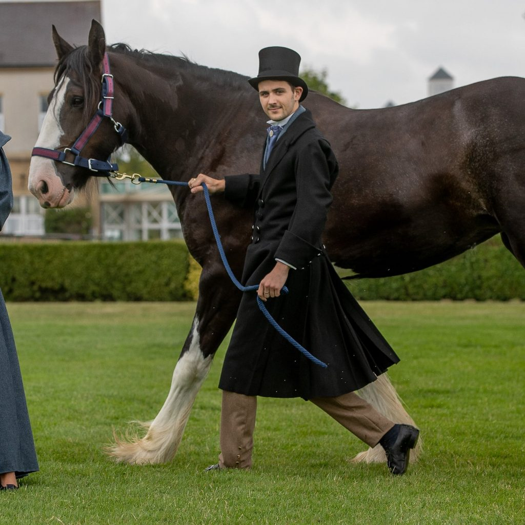 Kuoni Catwalk models in fashions from 1838 created specially to celebrate the 160th show by Harrogate College student Joanna Rishworth. The models will meet Shire horse Camalter Poppy, from Sledmere House at the Show for the very first time.