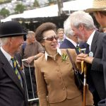 2010 HRH The Princess Royal on the first day of the Great Yorkshire Show enjoying a chat with sheep stewards