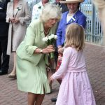 2011 HRH Duchess of Cornwall is presented with a bouquet on arrival to the Great Yorkshire Show